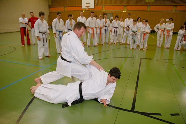 Sven Grote und Christoph Reinecke demonstrieren die Abwehr von Schwertangriffen