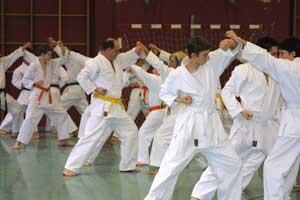 Anfänger und Unterstufe beim Karate-Training