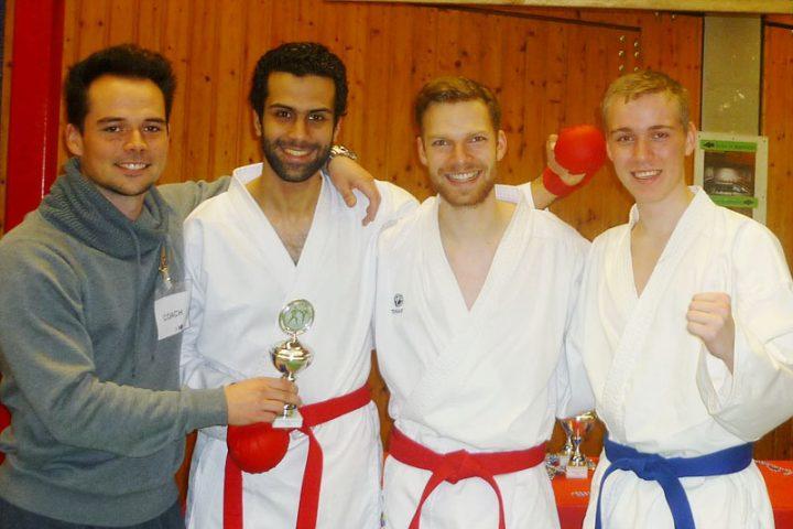 Zanshin-Kumite-Team Pokalturnier Oldenburg 2015: Jannik Warmbold, Mohamed ElBrolosy, Malte Friedrich, Sven Feuer