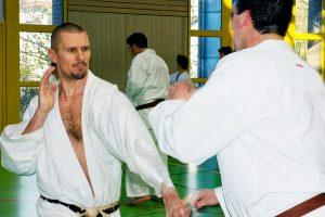 Steve Mosmondor beim Kumite-Training