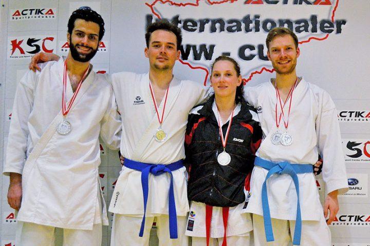 Karateteam Zanshin Goettingen WW-Cup 2015: Mohamed ElBrolosy, Jannik Warmbold, Stefanie Opola und Malte Freidrich