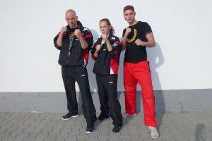 Zanshin Fight Team bei den Deutschen Meisterschaften der WKU 2013: Johannes Schmitz, Staefanie Opola, Marc
