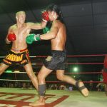 Timm Lohmann bei einem Muai-Thai-Kampf in Thailand